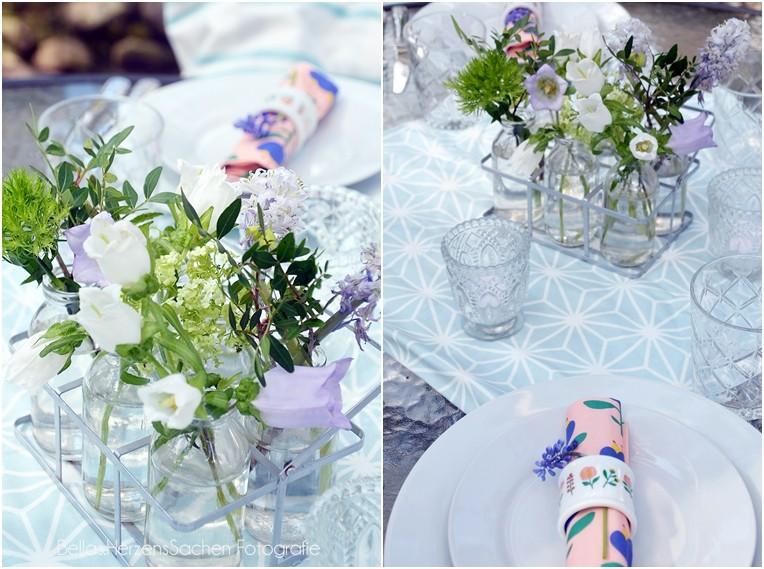 Tischdeko Garten Frühling pastell