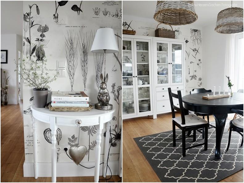 Schwedisches Esszimmer Holz, Weiß, Schwarz