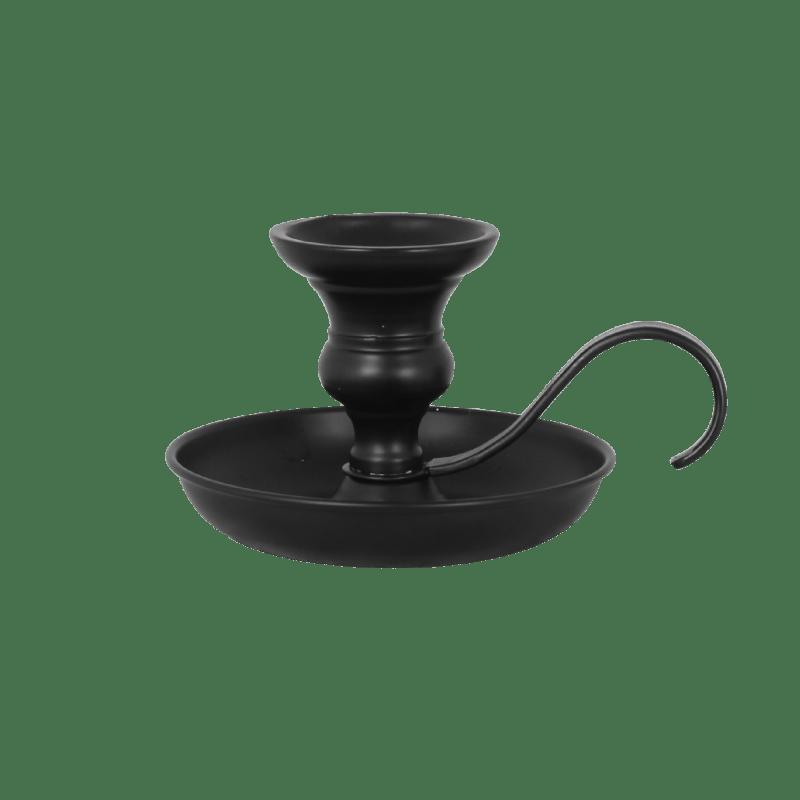 Schwarzer Kerzenhalter aus Metall