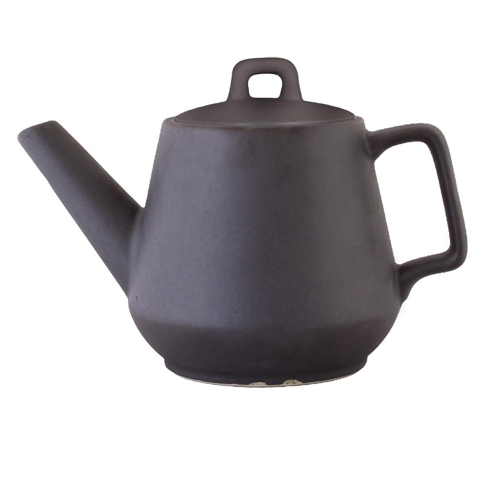 Teekanne dunkelbraun grau matt
