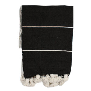 Baumwolldecke mit Streifen und Quasten in schwarz