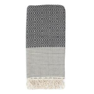 Decke Baumwolle Rautenmuster schwarz weiß