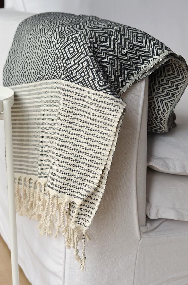 Decke mit Muster schwarz weiß nachhaltig