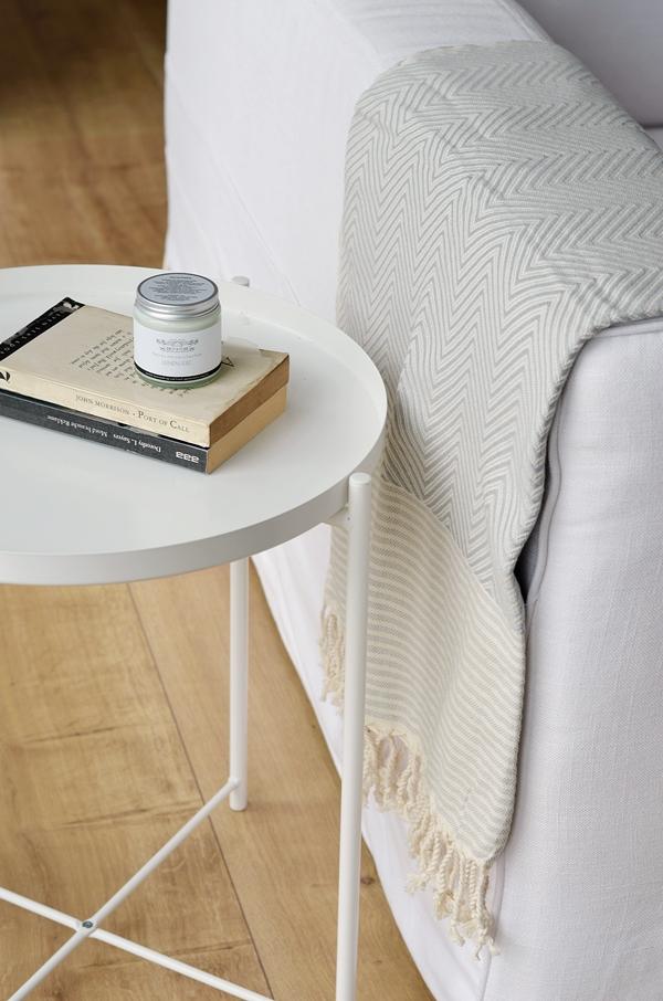 Decke aus Baumwolle grau Muster