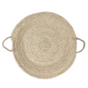 rundes Tablett aus Palmenblättern