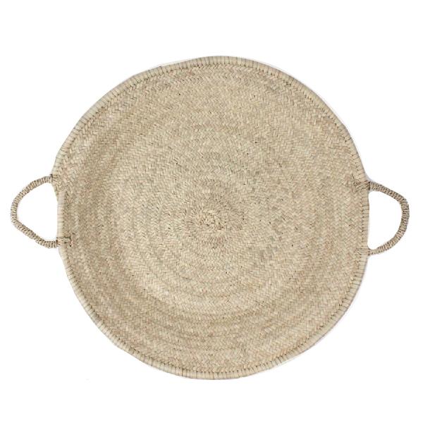 rundes Tablett aus Palmenblättern, groß