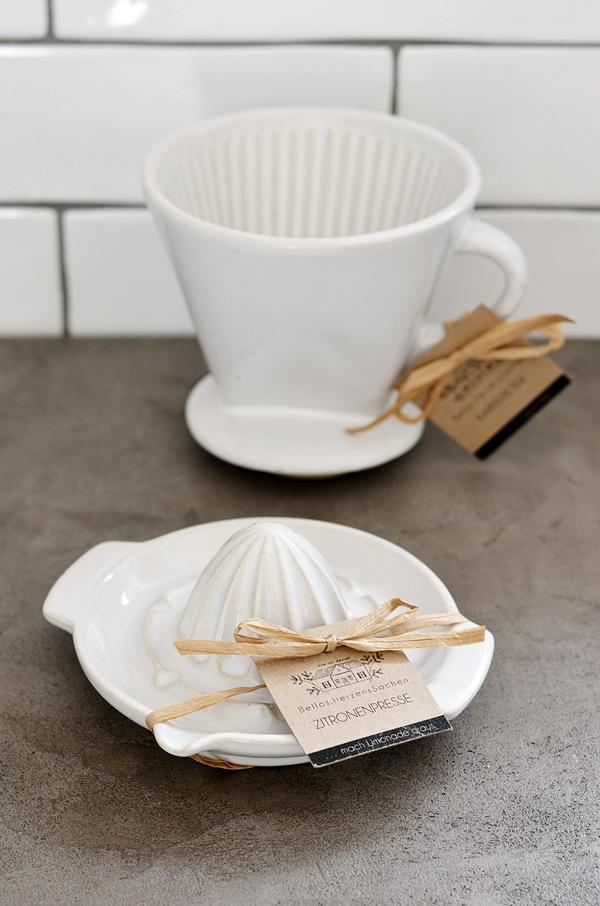 Zitronenpresse Kaffeefilter Keramik weiß