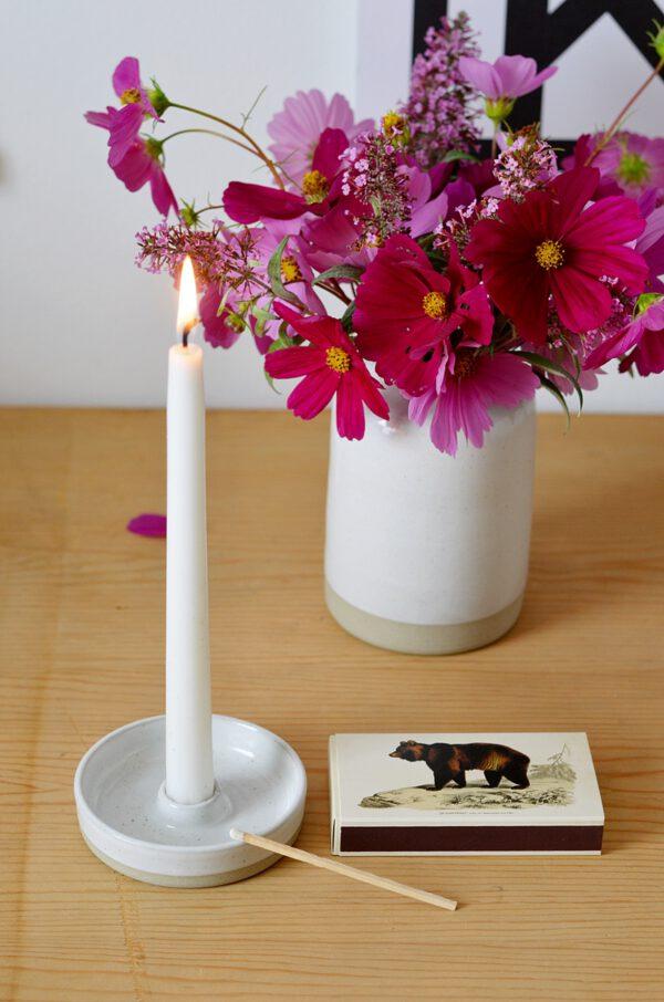 Kerze Vase Keramik weiß