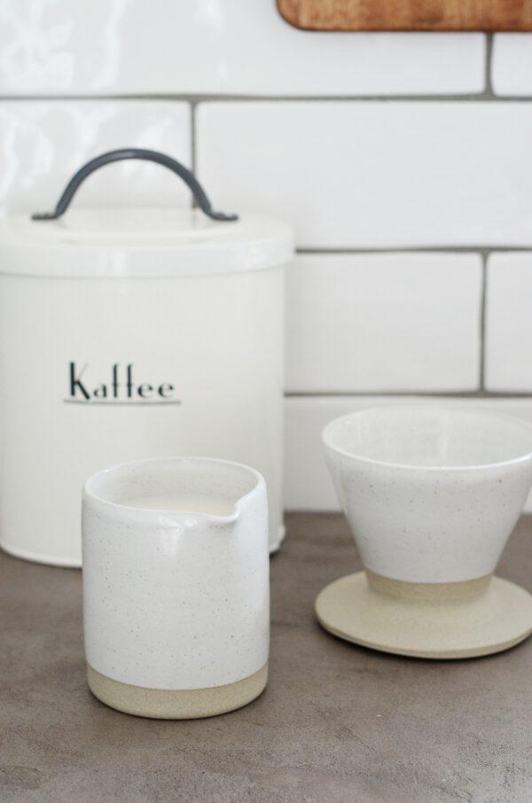 Milchkännchen Kaffeefilter Keramik weiß