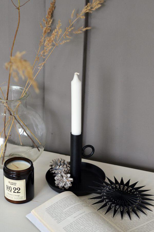 Kerzenhalter schwarz Metall