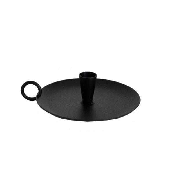 Kerzenhalter mit Griff schwarz Metall