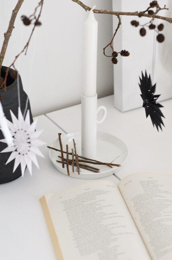 Kerzenhalter weiß Metall