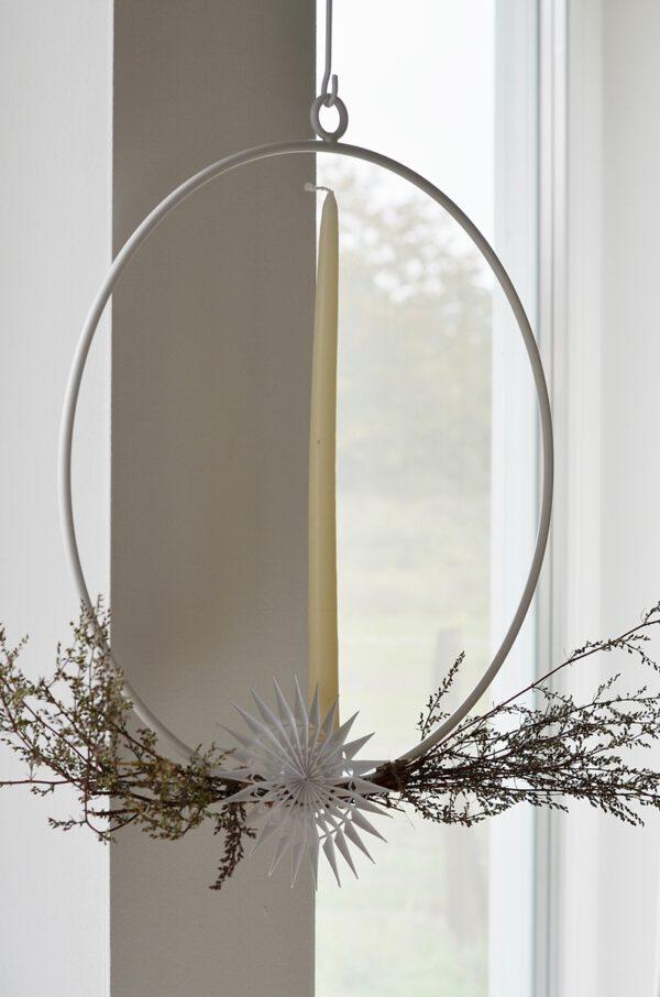 Kerzenring zum Aufhängen weiß Metall