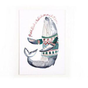 Weihnachtskarte Wal