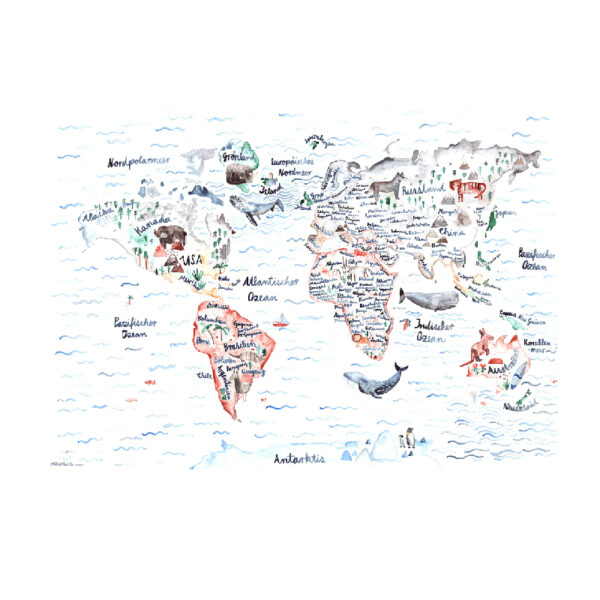 Illustriertes Poster Weltkarte